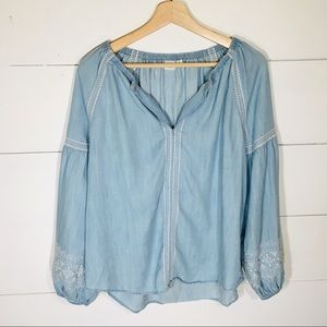 GAP Boho Embroidered Denim Peasant Blouse MEDIUM